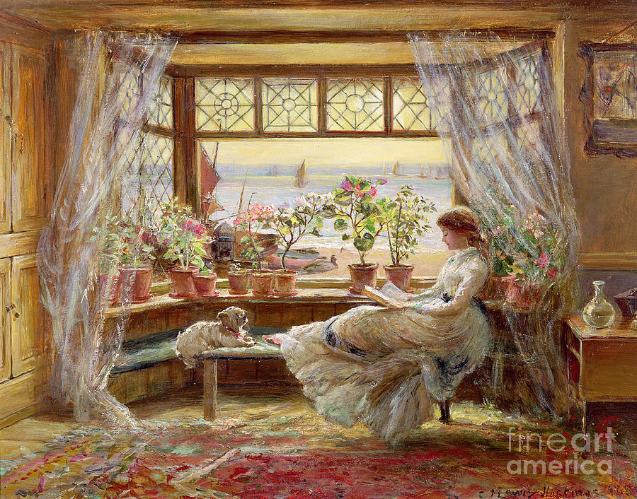 Dog Painting - Reading by the Window by Charles James Lewis