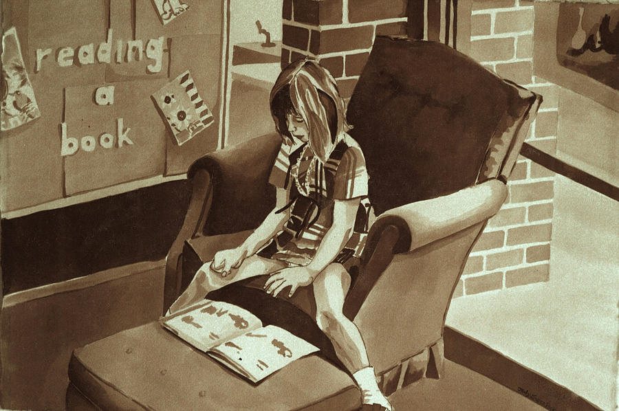 Girl Reading Book Painting - Reading Corner by Judy Swerlick