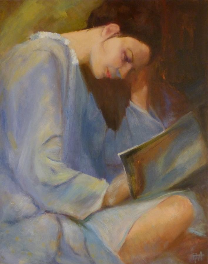 Figure Painting - Reading in the Blue Robe II by Irena Jablonski