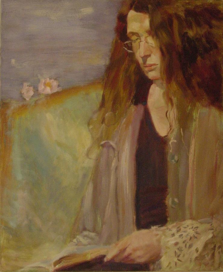 Girl Painting - Reading madame Bovary by Irena  Jablonski