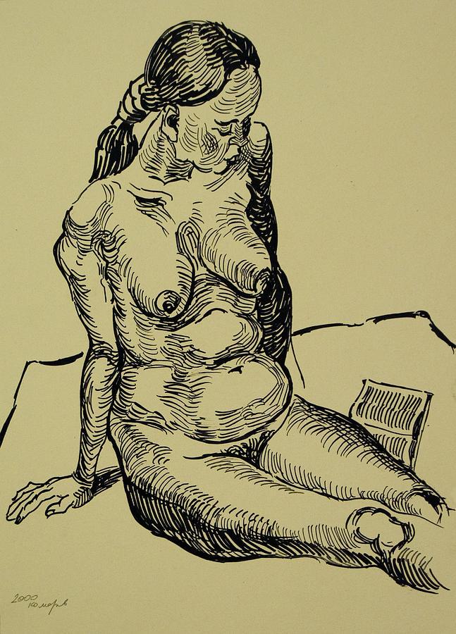 Woman Drawing - Reading Naked Woman by Vitali Komarov