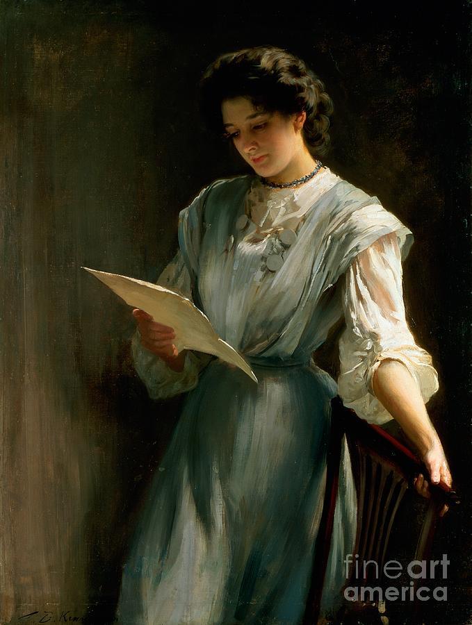Reading Painting - Reading The Letter  by Thomas Benjamin Kennington
