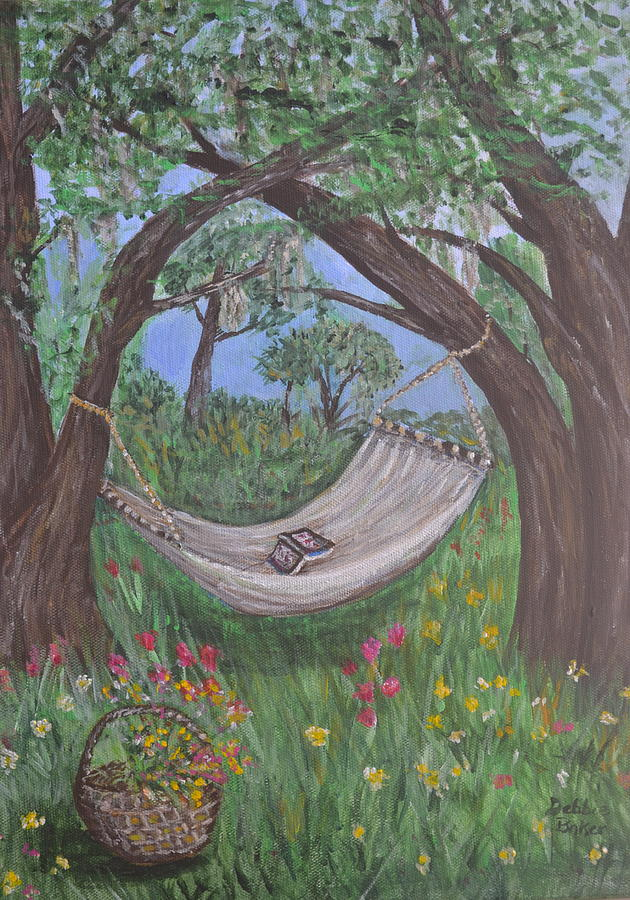 Hammock Painting - Reading Time by Debbie Baker