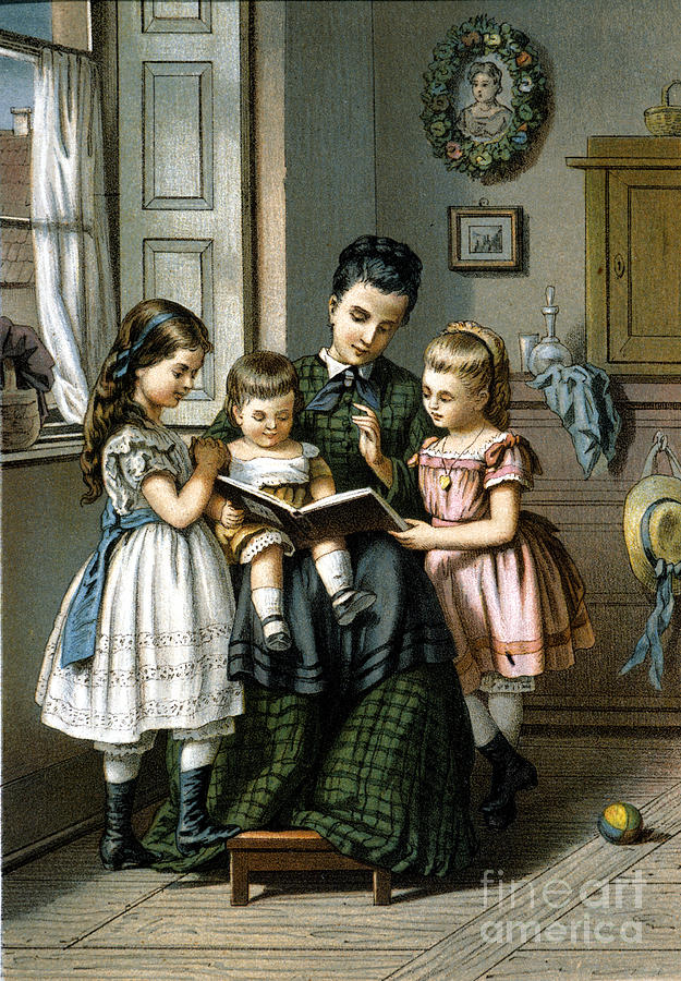1870 Photograph - Reading To The Children by Granger