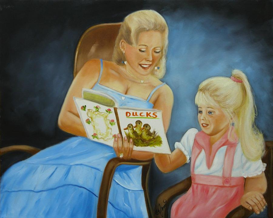 Portraits Painting - Reading With Gramma by Joni McPherson