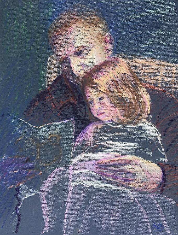 Portrait Painting - Reading with Poppy by Susan E Brooks
