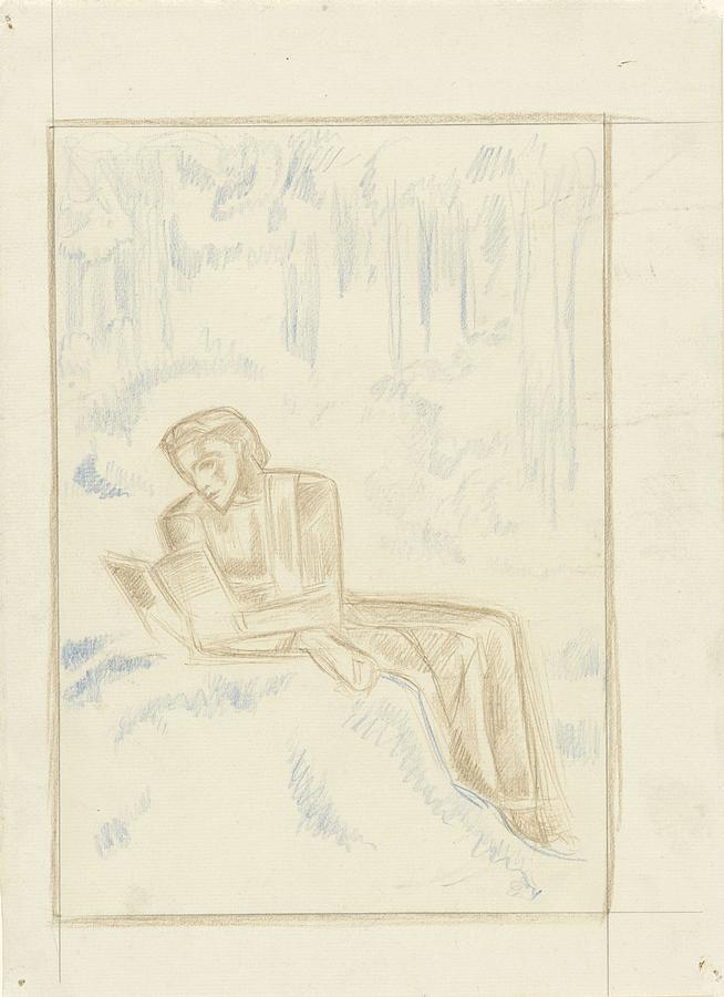 Reading Woman In A Forest, Richard Roland Holst, 1878 - 1938 Painting