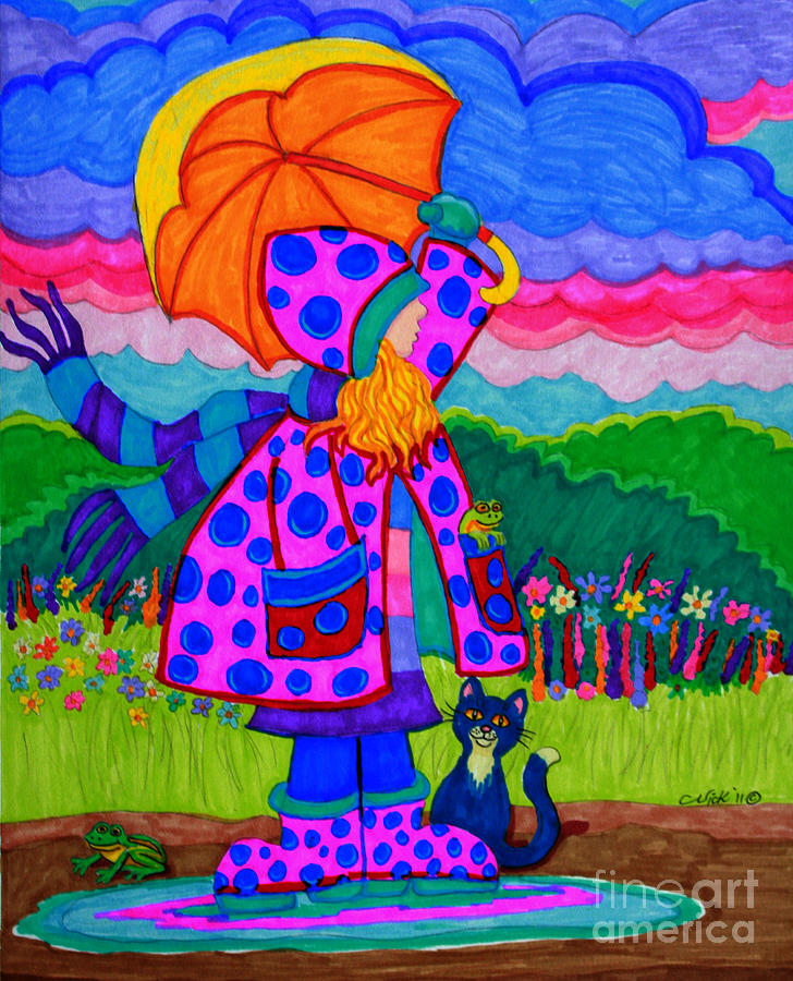 Colorful Artwork Drawing - Ready For The Rain by Nick Gustafson