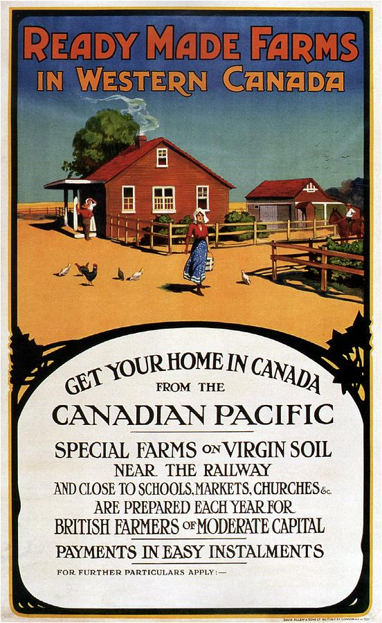 Farms Mixed Media - Ready Made Farms In Western Canada - Canadian Pacific - Retro Travel Poster - Vintage Poster by Studio Grafiikka