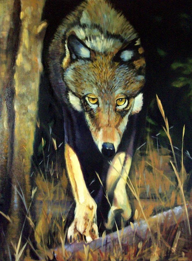 Wolf Painting - Ready Or Not Here I Come by Jim Wetherington