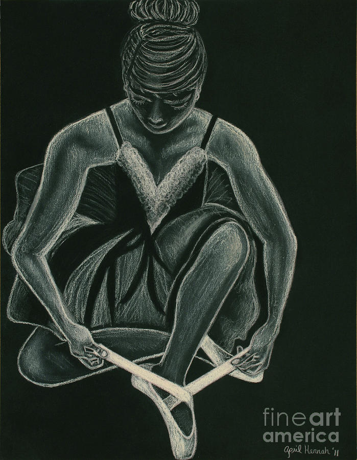 Ballerina Drawing - Ready To Dance by April Hannah