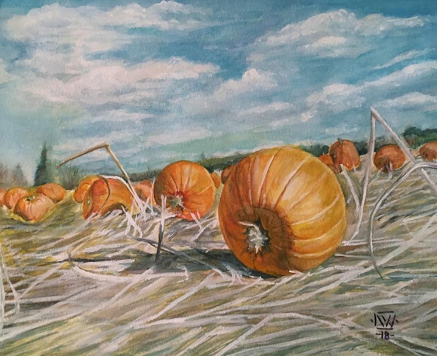 Pumpkin Patch Painting - Ready To Harvest by Nigel Wynter