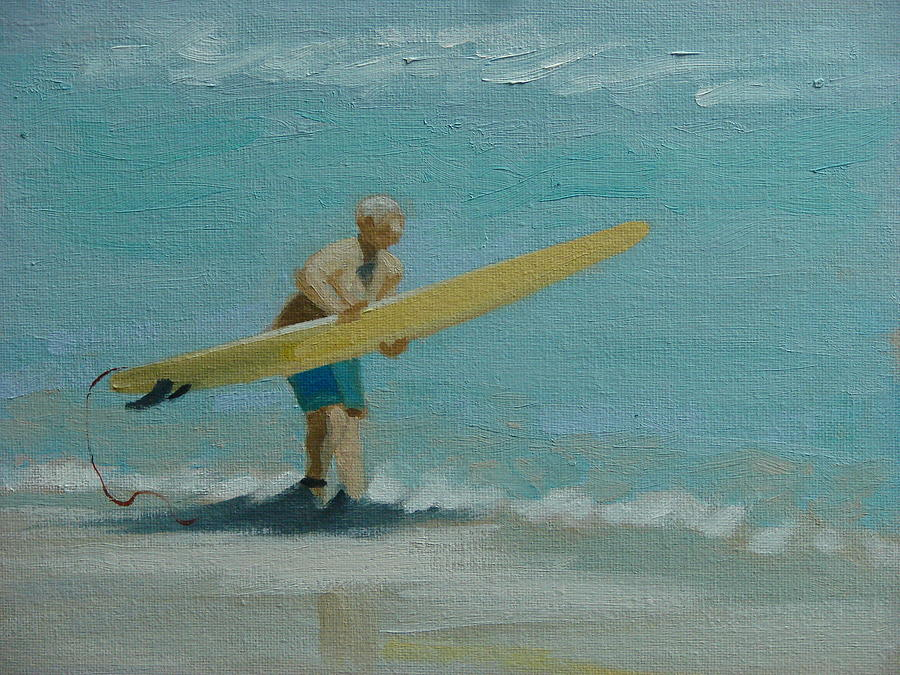Surfer Painting - Ready To Launch  No 1 by Robert Rohrich