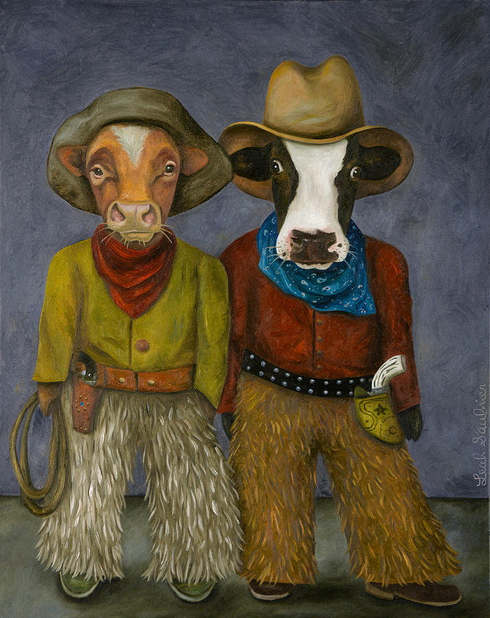 Cowboys Painting - Real Cowboys by Leah Saulnier The Painting Maniac