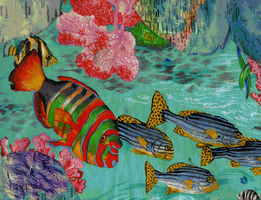 Fish Mixed Media - Real Fish Do Not Need Maps by Anne-Elizabeth Whiteway
