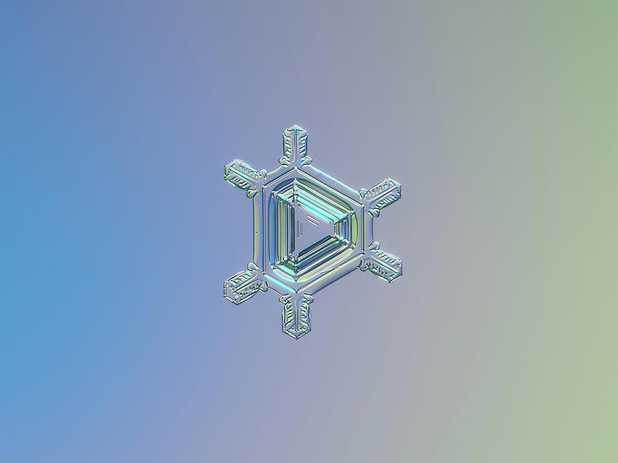 Snowflake Photograph - Real Snowflake Photo - Emerald by Alexey Kljatov