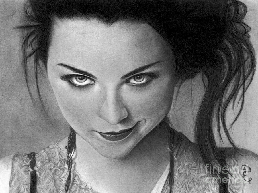 Realistic Pencil Drawing of Amy Lee of Evanescence  by Debbie Engel