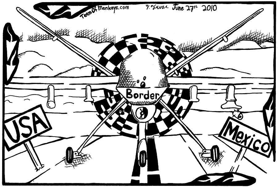 Reaper Drawing - Reaper Drone For The Us Mexico Border By Yonatan Frimer by Yonatan Frimer Maze Artist