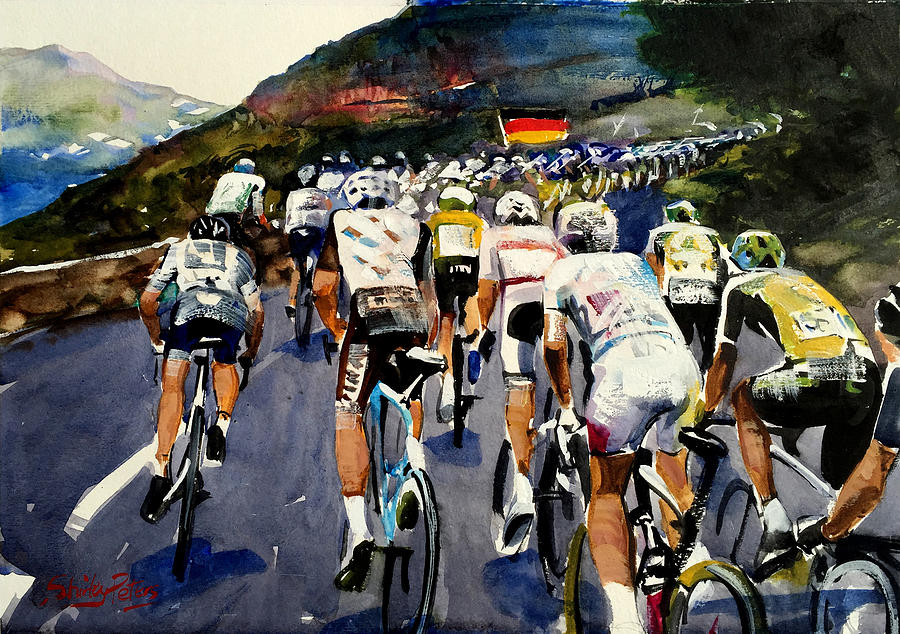 Cycling Painting - Rear Of The Pelaton by Shirley Peters
