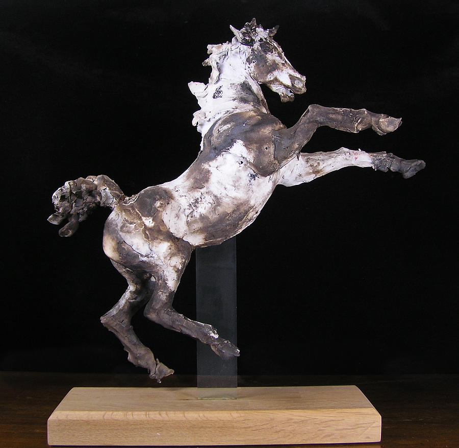 Horse Sculpture - Rearing Smoke Fired Horse by April Young