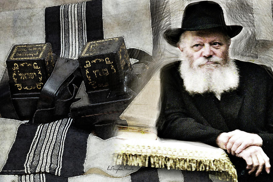Rebbe and Teffilin by Luz Graphic Studio