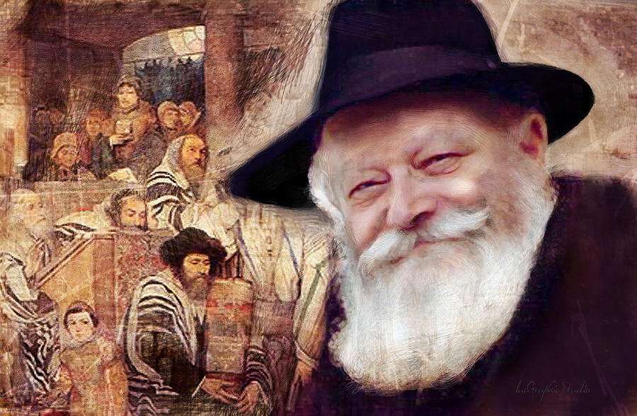 Rebbe in synagogue by Luz Graphic Studio