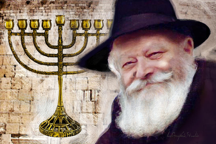 Rebbe menorah 9 candles by Luz Graphic Studio