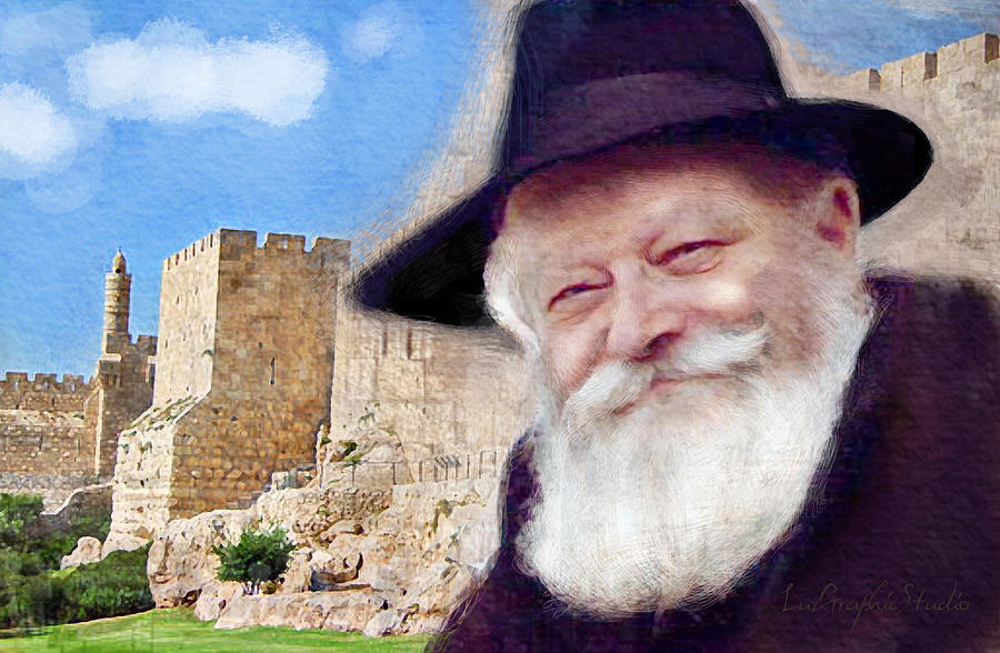 Rebbe with Temple by Luz Graphic Studio