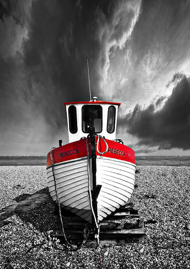 Boat Photograph - Rebecca Wearing Just Red by Meirion Matthias
