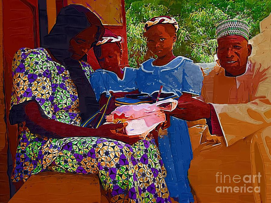 African Children Painting - Receiving Gifts by Deborah Selib-Haig DMacq