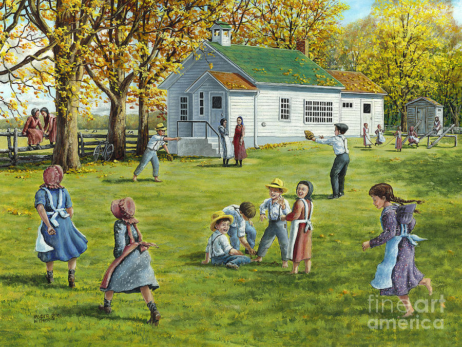 Country School Painting - Recess by Roger Witmer