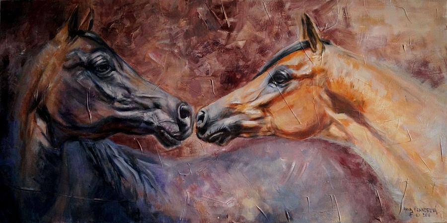 Equine Painting - Reciprocity by Anna Franceova
