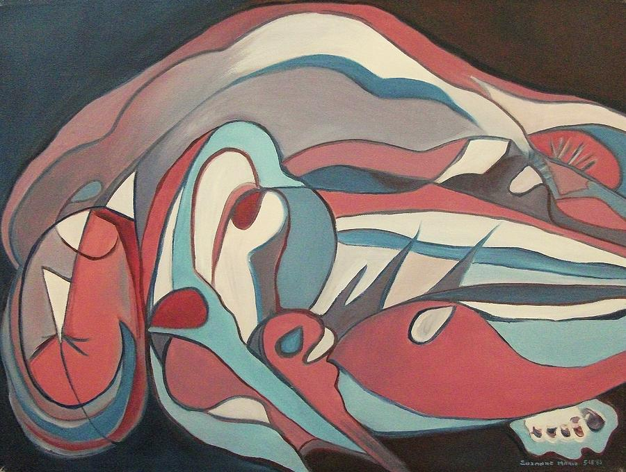 Abstract Nude Painting - Recling Sleeper by Suzanne  Marie Leclair