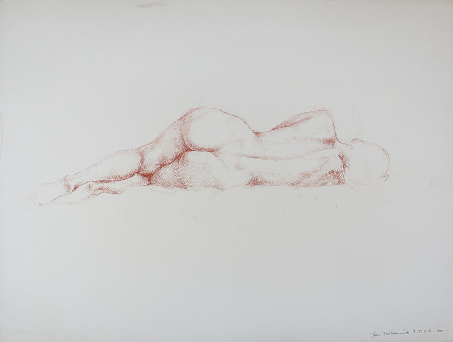 Reclining Female Figure, Square On Rear View At Eye Level, Student Work. Drawing
