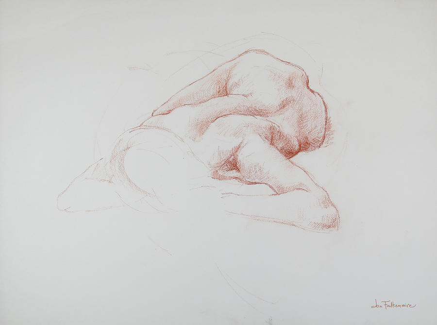Reclining Female, Foreshortened, Head View, Student Work. Drawing