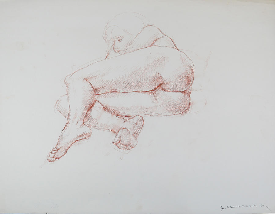 Reclining Female, Foreshortened Rear View, Student Work. Drawing