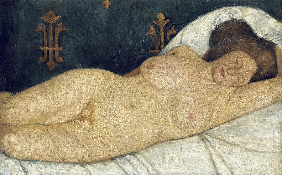 Reclining Female Nude Painting - Reclining Female Nude by Paula Modersohn-Becker