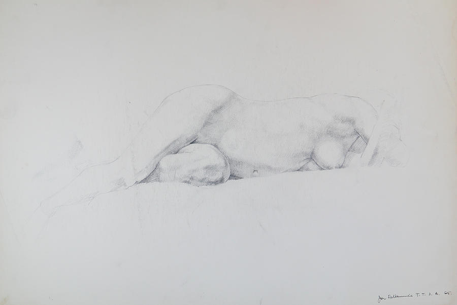 Reclining Female Torso, On Left Side, Front View. Student Work. Drawing