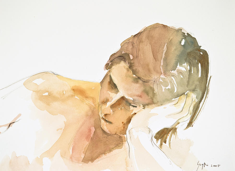 Human Figure Painting - Reclining Head by Eugenia Picado