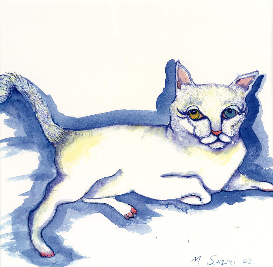 Animal Portrait Painting - Reclining Kitty by Michelle Spiziri