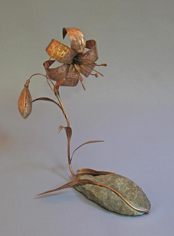 Lily Sculpture - Reclining Lily by Lynn Wartski