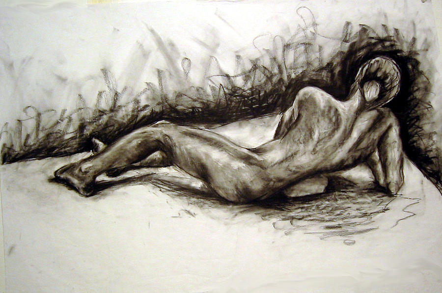 Nude Drawing - Reclining Male by Michelle Meyer