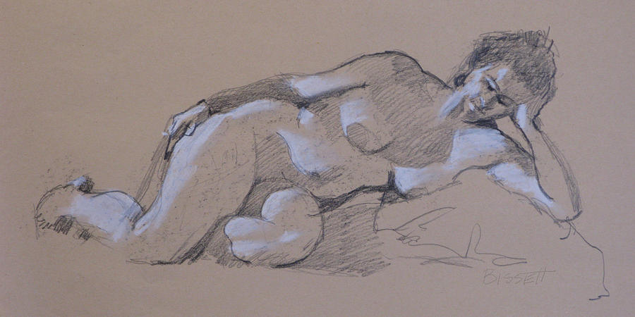 Life Drawing - Reclining Nude 2 by Robert Bissett