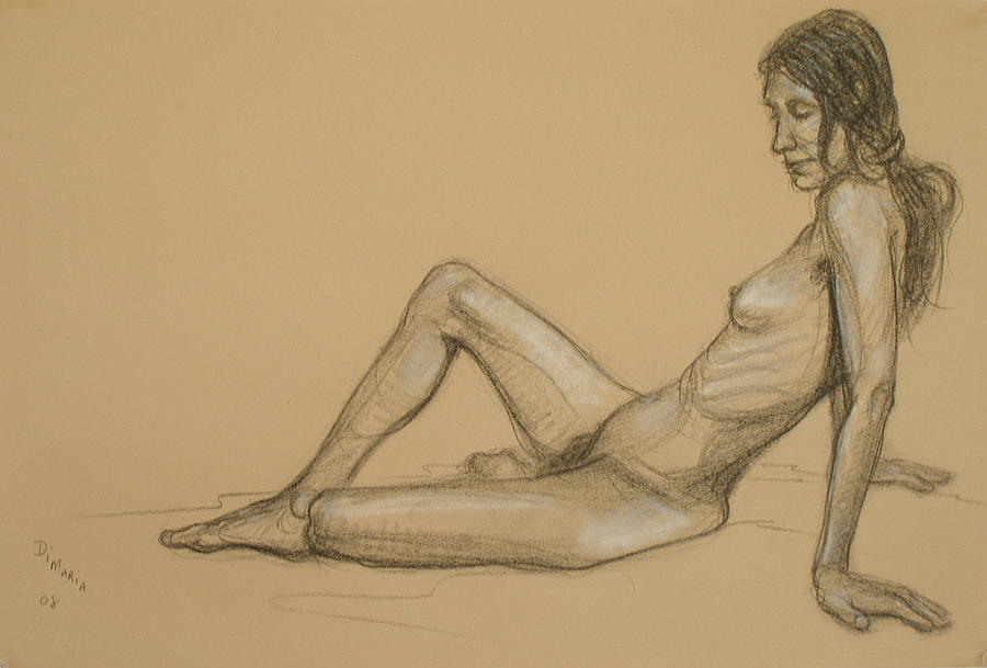Realism Drawing - Reclining Nude 3 by Donelli  DiMaria
