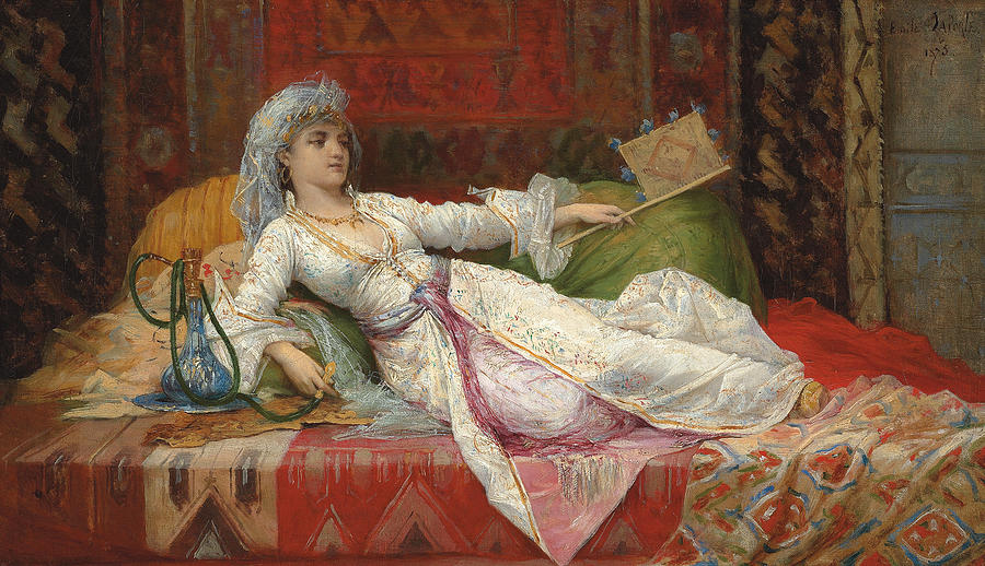 Reclining Turkish Woman Painting By Emile Henri La Porte