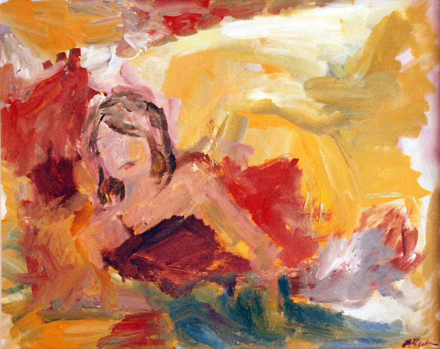 Woman Painting - Reclining Woman by JOANNE McCubrey