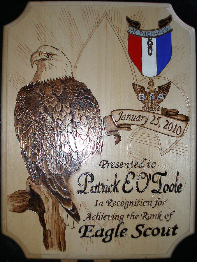 Eagle Pyrography - Recognition Plaque by Ramon Greene