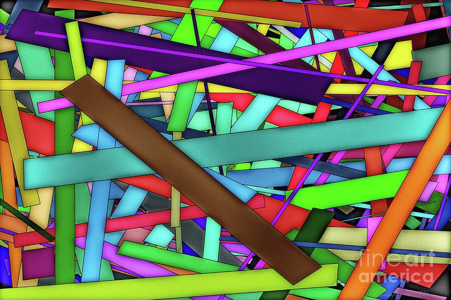 Abstract Digital Art - Rectangle Matrix 24 - Amcg20180305 40 X 27 by Michael Geraghty
