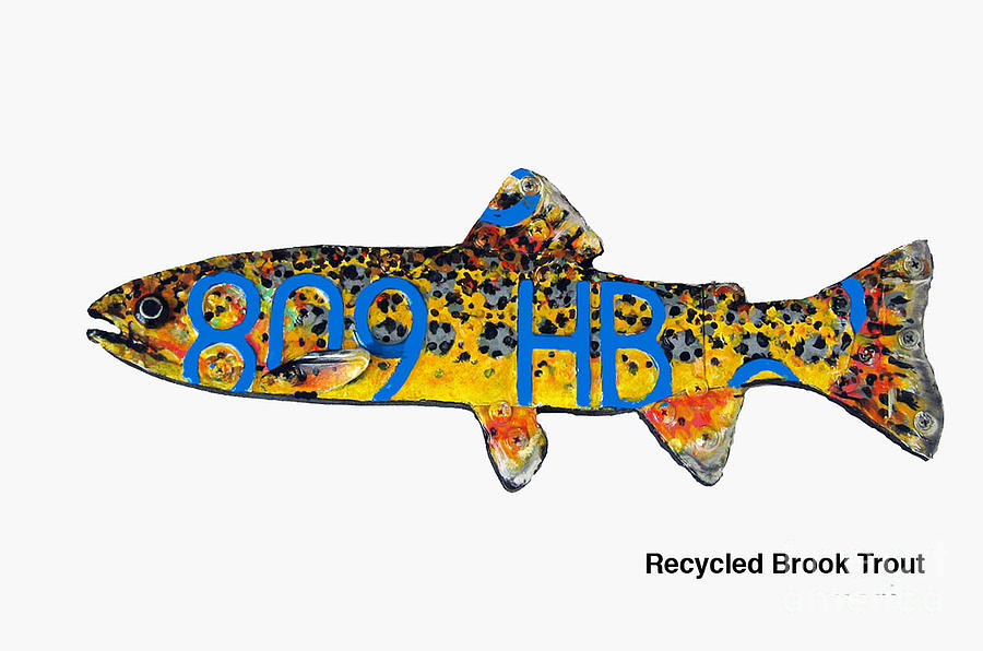 Brook Trout Mixed Media - Recycled Brook Trout by Bill Thomson