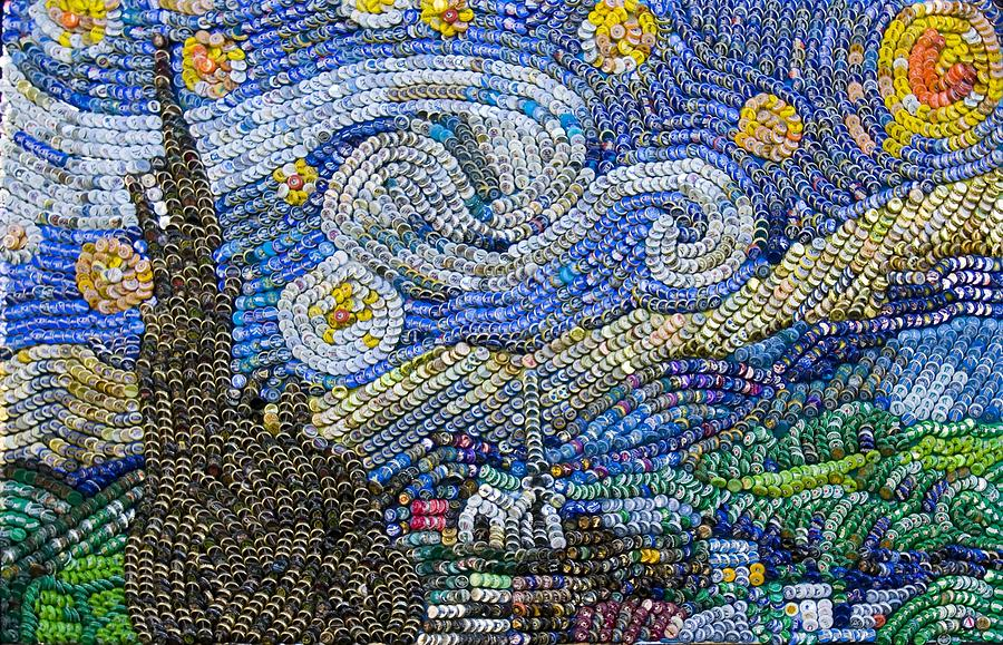 Van Gogh Mixed Media - Recycled Night by Aaron Buehring
